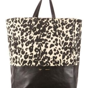 Leopard Print Canvas and Leather Cabas Tote